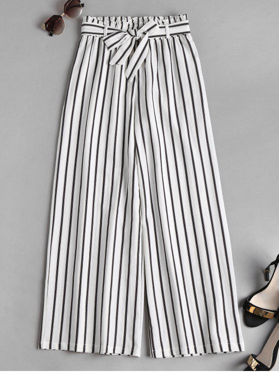 online Smocked Waist Stripes Wide Leg Pants - WHITE M