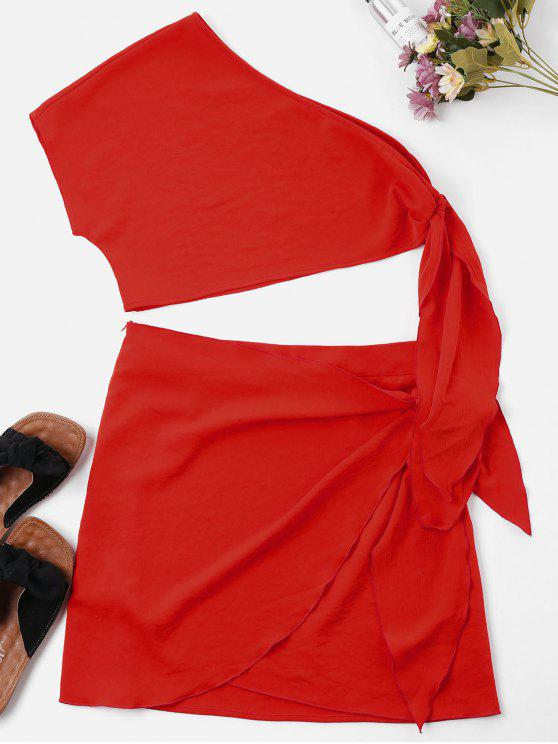 chic Knot Skew Collar Two Piece Dress - LOVE RED XL