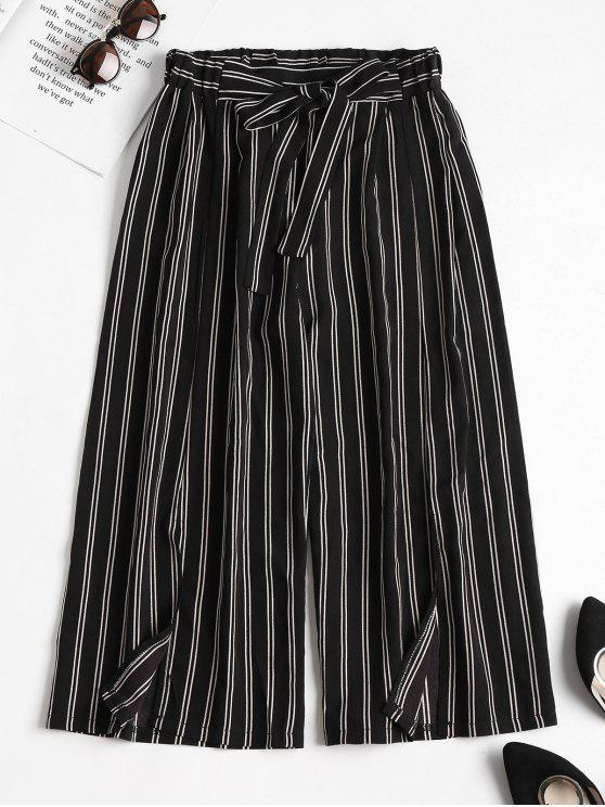 trendy Striped Slit Wide Leg Pants - BLACK L