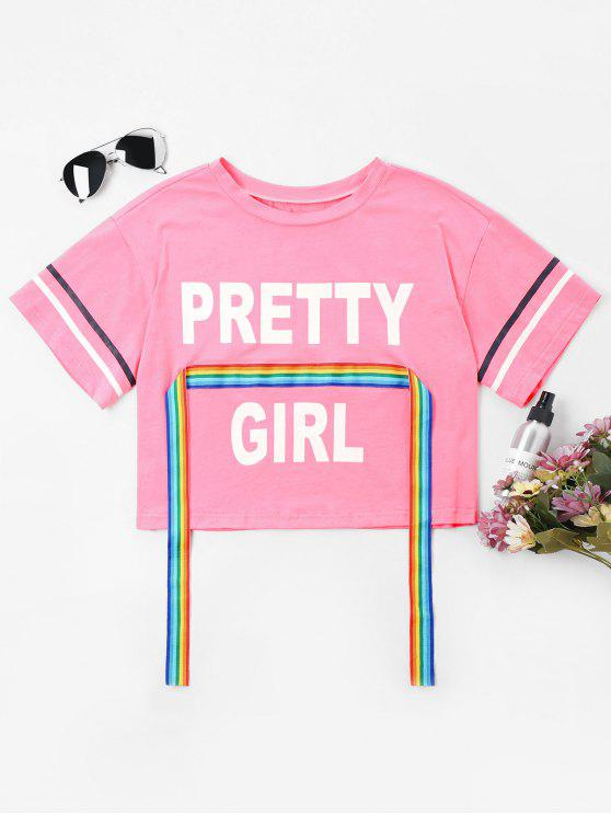 fashion Rainbow Ribbon Print Crop Tee - CARNATION PINK XL