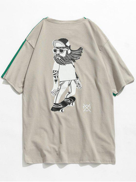 العودة مطبوعة الجبهة قصير عودة طويل القميص - البرسيم الأخضر XS
