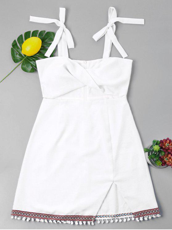 Vestido de corte bowknot twist pompón - Blanco L