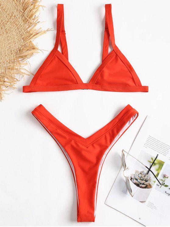 affordable Thong High Cut Bikini - BRIGHT ORANGE M