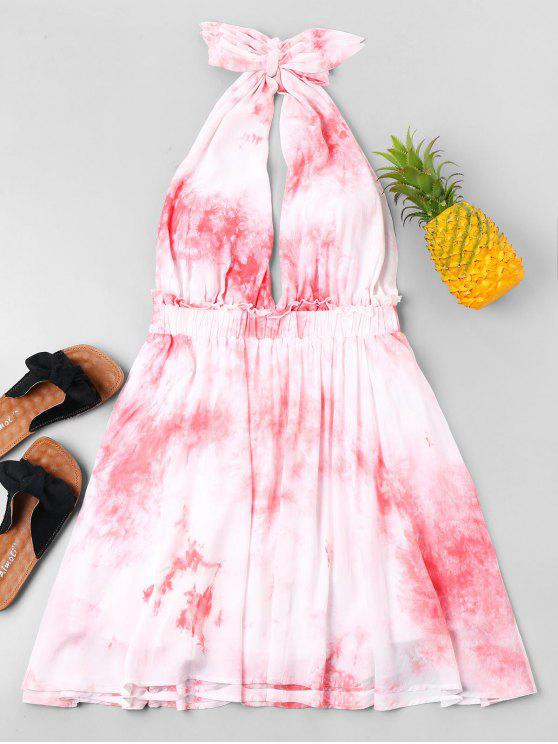 fashion Tie Dye Bowknot Summer Dress - PINK S
