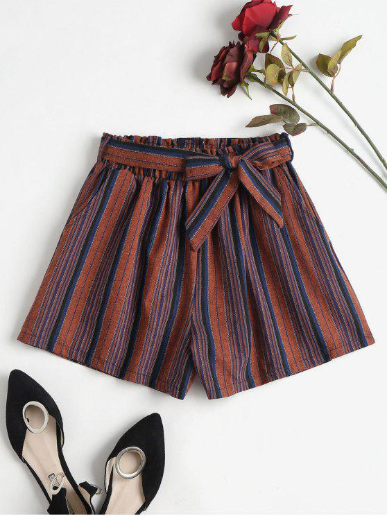 women Stripe Paper Bag Shorts - MULTI S