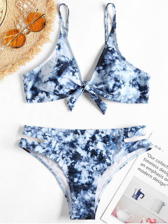 Bikini de corte alto con nudo teñido anudado - Azul de Pizarra Oscuro L