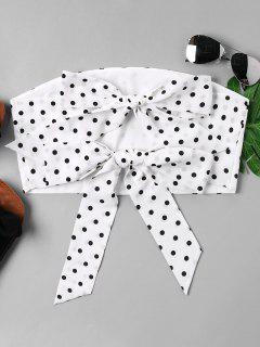 Polka Dot Strapless Top - White L