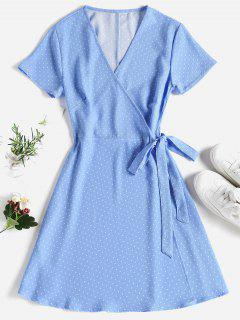 Polka Dot Mini Wrap Dress - Sky Blue L