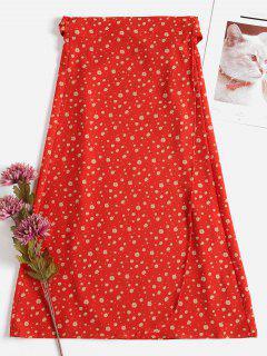 Falda De Punto Medio Floral - Pomelo M