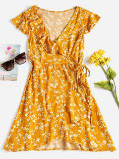 Cap Sleeve Ruffle Mini Wrap Dress - Cantaloupe L