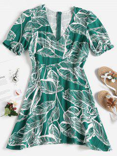 Palm Leaf Print Mini Skater Dress - Medium Aquamarine L