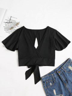 Knotted Cut Out Top - Black S