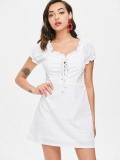 Lace Up Ruffles Mini Dress - White S