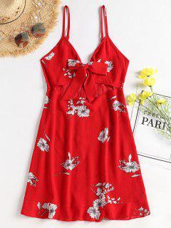 Vestido Floral Con Frente Al Frente Y Minifalda De Cami - Amo Rojo M