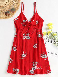 Floral Tie Front Cami Mini Sun Dress - Love Red S