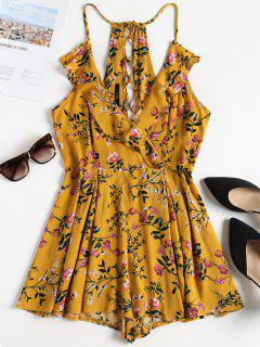 Lace Up Floral Cami Surplice Romper - School Bus Yellow Xl