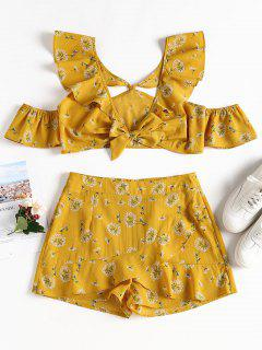 Floral Cold Shoulder Top Shorts Matching Set - Mustard S