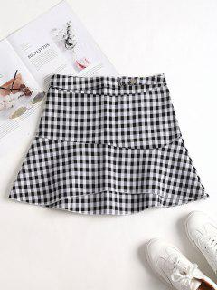 Layered Plaid Mini Skirt - Black M