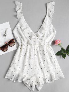 Star Print Surplice Ruffle Backless Romper - Blanco Xl