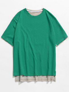 Dos Imprimé Devant Court T-shirt Long Dos - Vert Foncé M