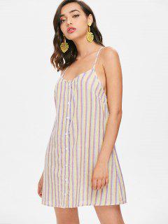 Striped Button Up Dress - Mauve S