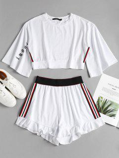 Side Stripe Sporty Top Shorts Sweat Suit - White L