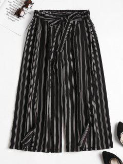 Striped Slit Wide Leg Pants - Black Xl