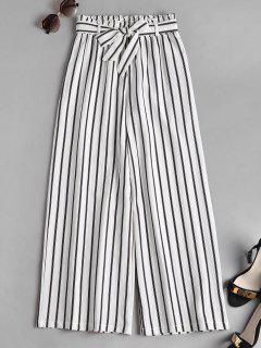 Smocked Waist Stripes Wide Leg Pants - White M