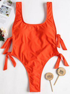 Backless Knot High Leg Swimsuit - Bright Orange L