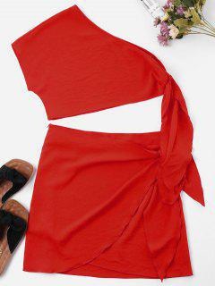Knot Skew Collar Two Piece Dress - Love Red M