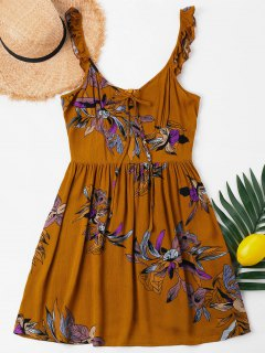 Plunge Flowers Summer Dress - Light Brown M