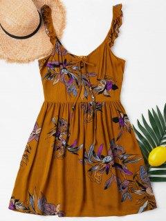 Vestido Largo De Verano Con Flores - Marrón Claro Xl