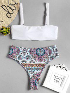 Bikini En Ensemble Taille Haute à Imprimé De Bohème - Blanc M