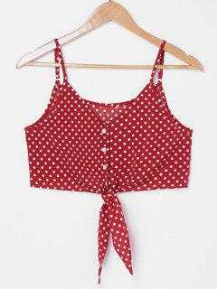 Knot Polka Dot Cami Top - Love Red Xl