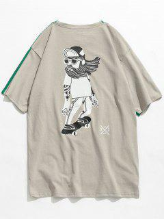 Back Printed Front Short Back Long T-shirt - Clover Green S