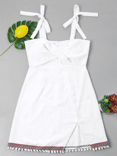 Bowknot Twist Pompom Trim Dress - White Xl