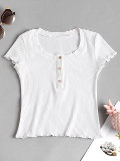 Ribbed Half Buttoned Top - White M