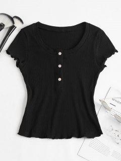 Ribbed Half Buttoned Top - Black S
