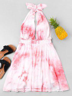 Tie Dye Bowknot Summer Dress - Pink S
