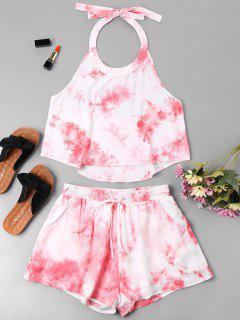 Halter Tie Dye Shorts Set - Pink L