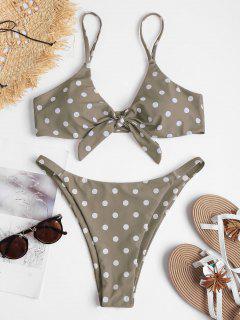 Knot Polka Dot String Bikini - Light Khaki L