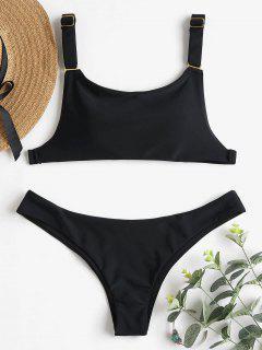 Adjustable Strap Low Waist Bikini - Black L