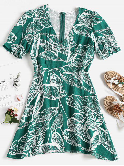 affordable Palm Leaf Print Mini Skater Dress - MEDIUM AQUAMARINE S Mobile
