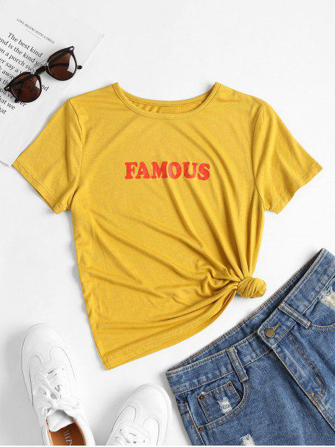 fashion Famous Print Graphic Tee - BEE YELLOW S Mobile