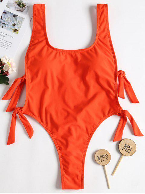 fashion Backless Knot High Leg Swimsuit - BRIGHT ORANGE L Mobile