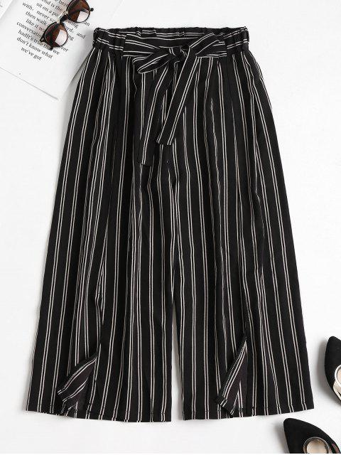 trendy Striped Slit Wide Leg Pants - BLACK L Mobile