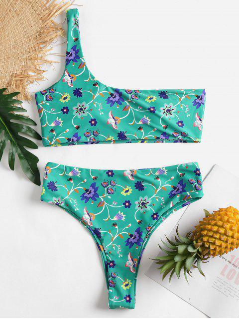 Blumen Ein Schulter Hoch Taillierter Bikini - Kleeblatt Grün M Mobile