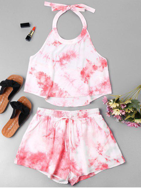 best Halter Tie Dye Shorts Set - PINK L Mobile