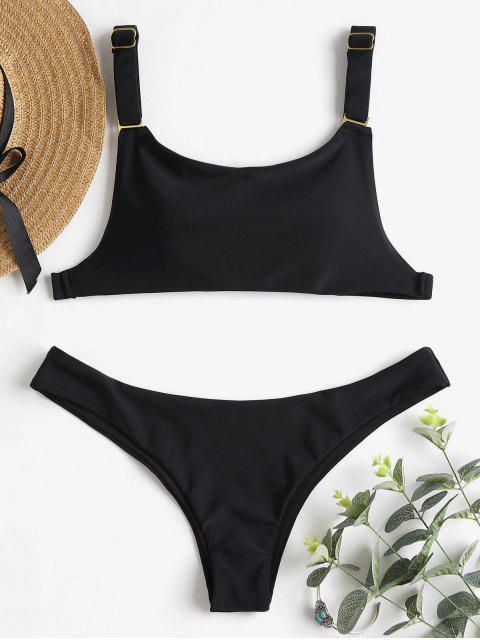 women Adjustable Strap Low Waist Bikini - BLACK L Mobile