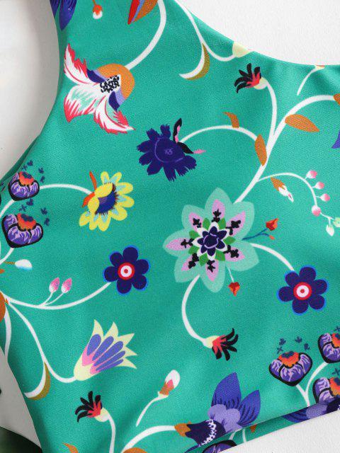 best Floral One Shoulder High Waisted Bikini - CLOVER GREEN M Mobile